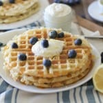 Yeasted Buttermilk Waffles with Honey-Lemon Ricotta | theroastedroot.net #glutenfree #brunch #recipe @redstaryeast