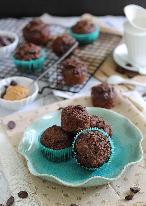 Grain-Free Chocolate Peanut Butter Muffins #glutenfree #sugarfree