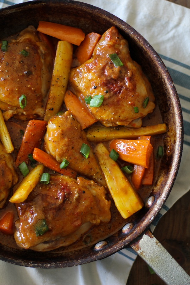 Coconut Harissa Curry Braised Chicken with Root Vegetables | theroastedroot.net #paleo #healthy #recipe