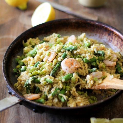Parsnip Risotto with Chickpea Alfredo Sauce, Shrimp, Asparagus, and Split Peas | TheRoastedRoot.net Gluten free, dairy free, and healthy!
