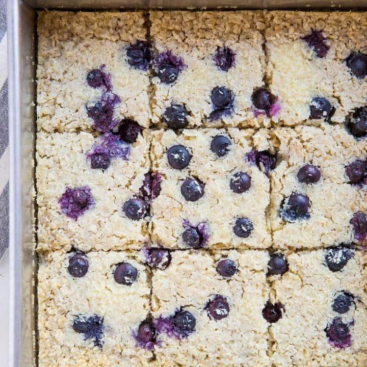 Blueberry Baked Oatmeal - Dairy-Free, Refined Sugar-Free, Gluten-Free, and healthy! | theroastedroot.net #brunch #breakfast #recipe