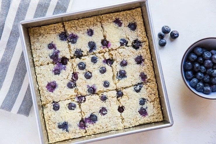 Blueberry Baked Oatmeal - Dairy-Free, Refined Sugar-Free, Gluten-Free, and healthy! | theroastedroot.net #brunch #breakfast #recipe @roastedroot