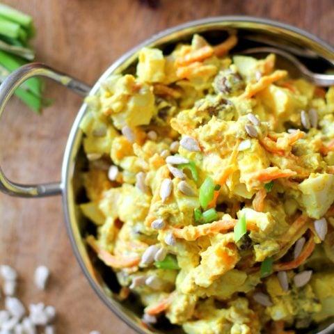 Curried Egg Salad - lightened up egg salad full of delicious flavor! #vegetarian #salad #recipe