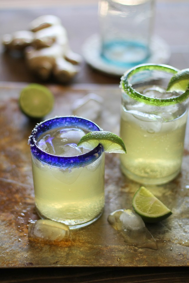 Ginger Margaritas - refined sugar-free and sweetened with agave nectar   theroastedroot.net #cocktail #cinco_de_mayo #tequila #recipe