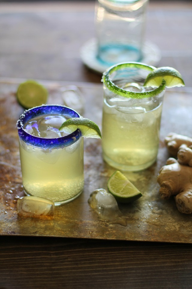 Ginger Margaritas - refined sugar-free and sweetened with agave nectar | theroastedroot.net #cocktail #cinco_de_mayo #tequila #recipe