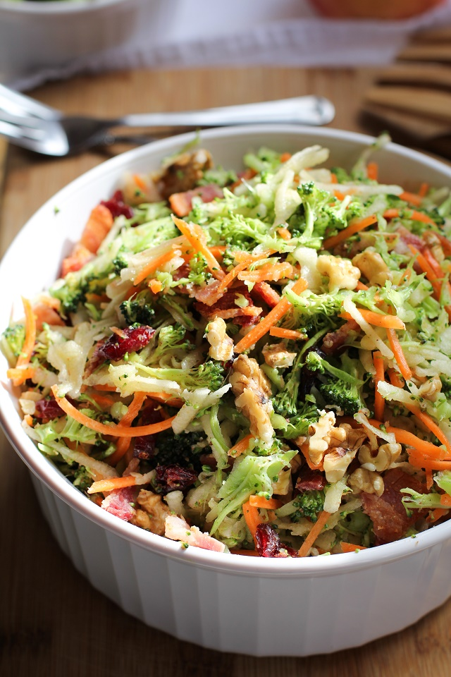 Grated Broccoli Salad with Walnuts, Bacon, and Citrus-Bacon Vinaigrette