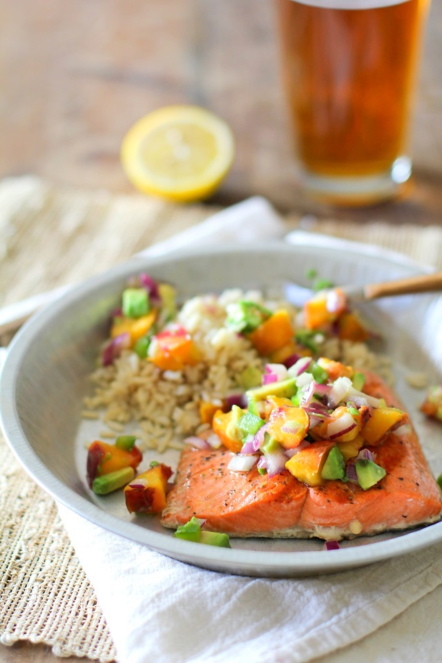 Grilled Salmon with Grilled Peach and Avocado Salsa | theroastedroot.net #grilled #bbq #healthy #dinner #paleo