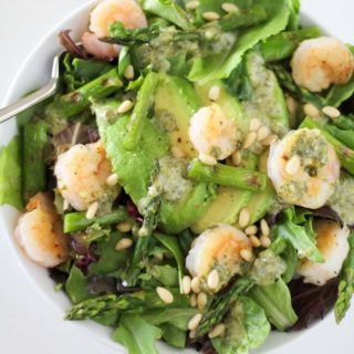 Grilled Shrimp and Asparagus Salad with Lemon-Pesto Dr