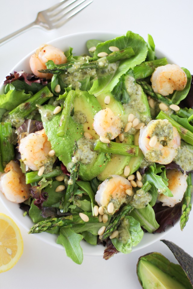 Grilled Shrimp and Asparagus Salad with Lemon-Pesto Dressing | theroastedroot.net #dinner #recipe #paleo #healthy