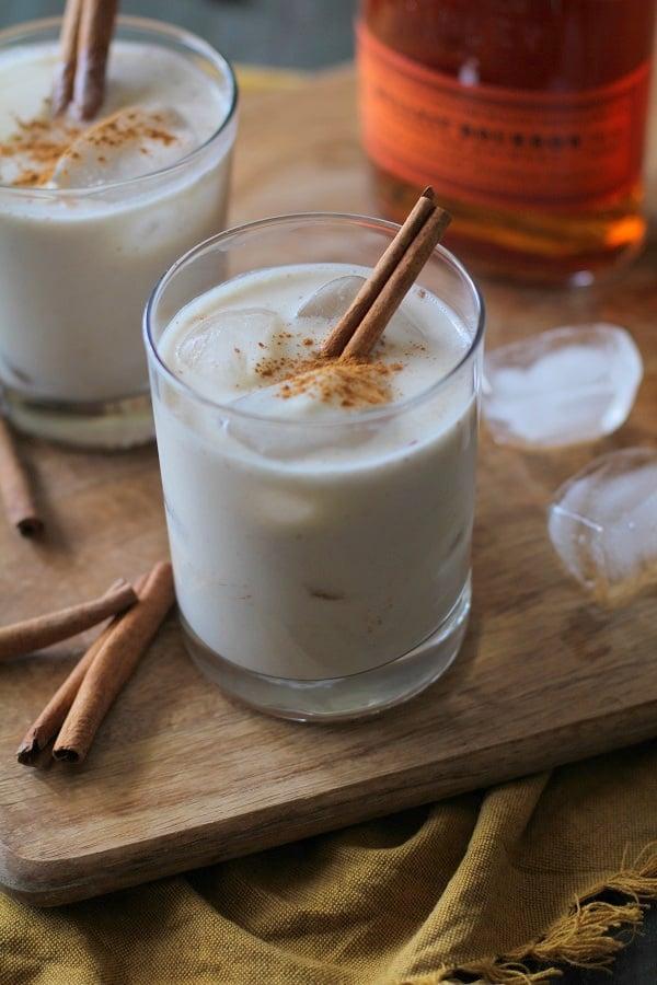 Horchata Cocktails - naturally sweetened and dairy-free! | theroastedroot.net #bourbon #cincodemayo #cocktail #recipe #sugarfree #vegan #dairyfree