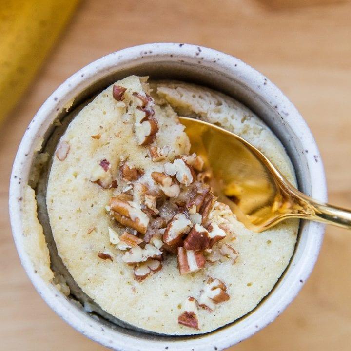 Paleo Banana Bread Mug Cake (Two Ways!) A grain-free mug cake recipe made with either almond flour or coconut flour. Grain-free, dairy-free, refined sugar-free and amazing!