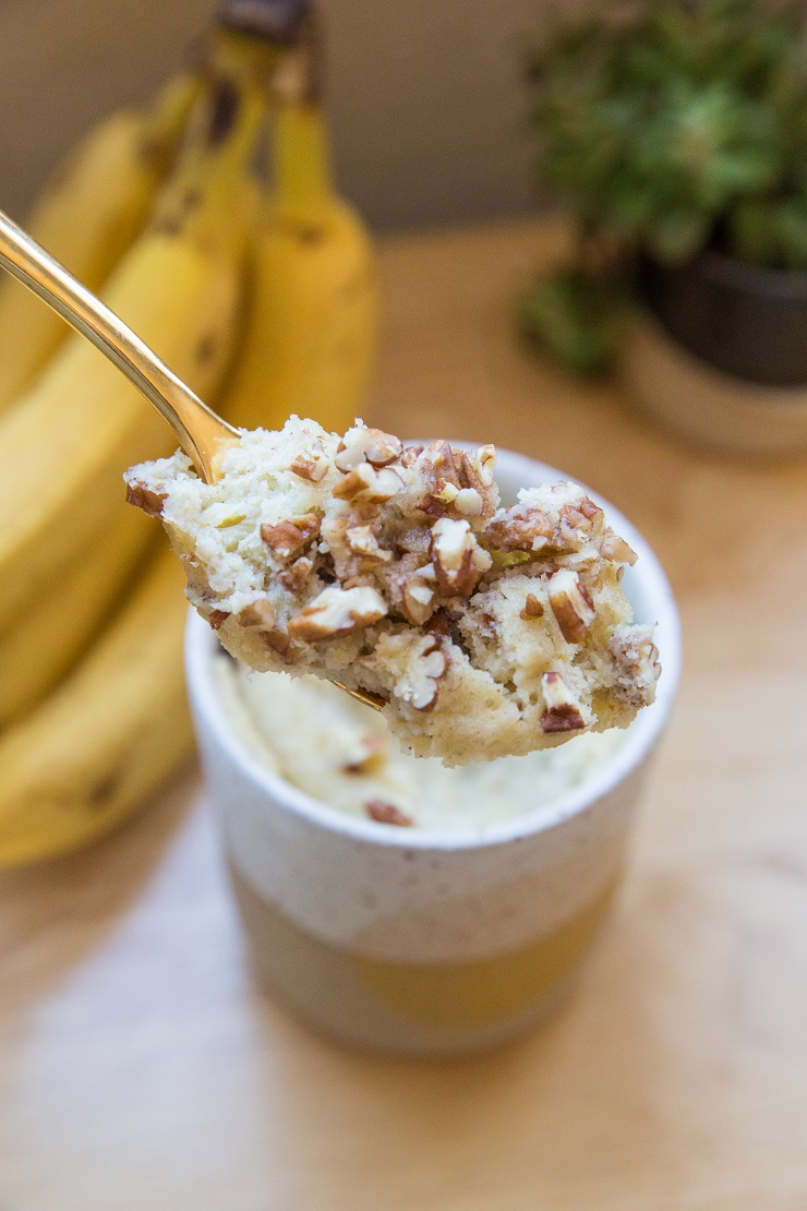 Paleo Banana Mug Cake made with almond flour or coconut flour. A healthy dessert or breakfast!