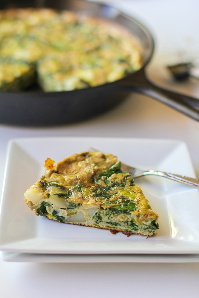Spinach, Leek, and Potato Frittata | theroastedroot.net #brunch #recipe #paleo @foodfanatical @dreamfarm