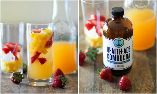 Strawberry Orange Mango Kombucha Mocktails | A probiotic-rich healthy fizzy fruity beverage | theroastedroot.net #kombucha #probiotics #cocktail #mocktail #recipe #summer