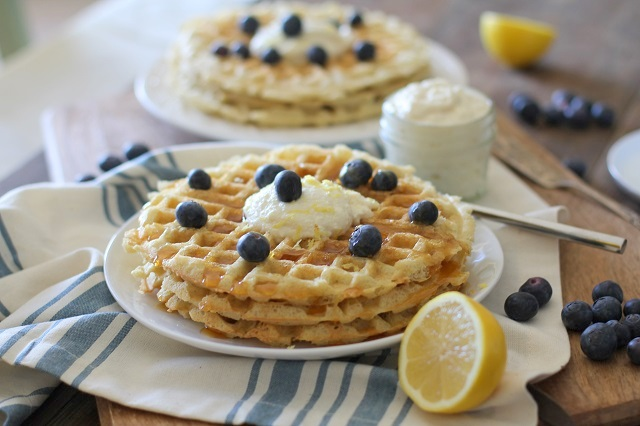 Yeasted Buttermilk Waffles with Honey-Lemon Ricotta | theroastedroot.net #brunch #recipe @redstaryeast