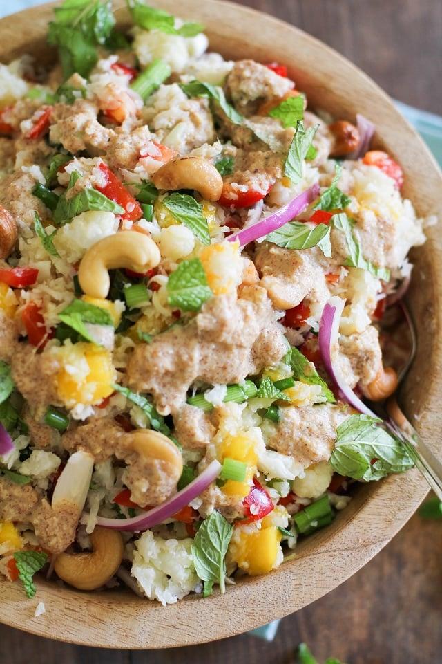 Thai Cauliflower Rice with Ginger-Almond Dressing | theroastedroot.net #paleo #recipe #grainfree #healthy
