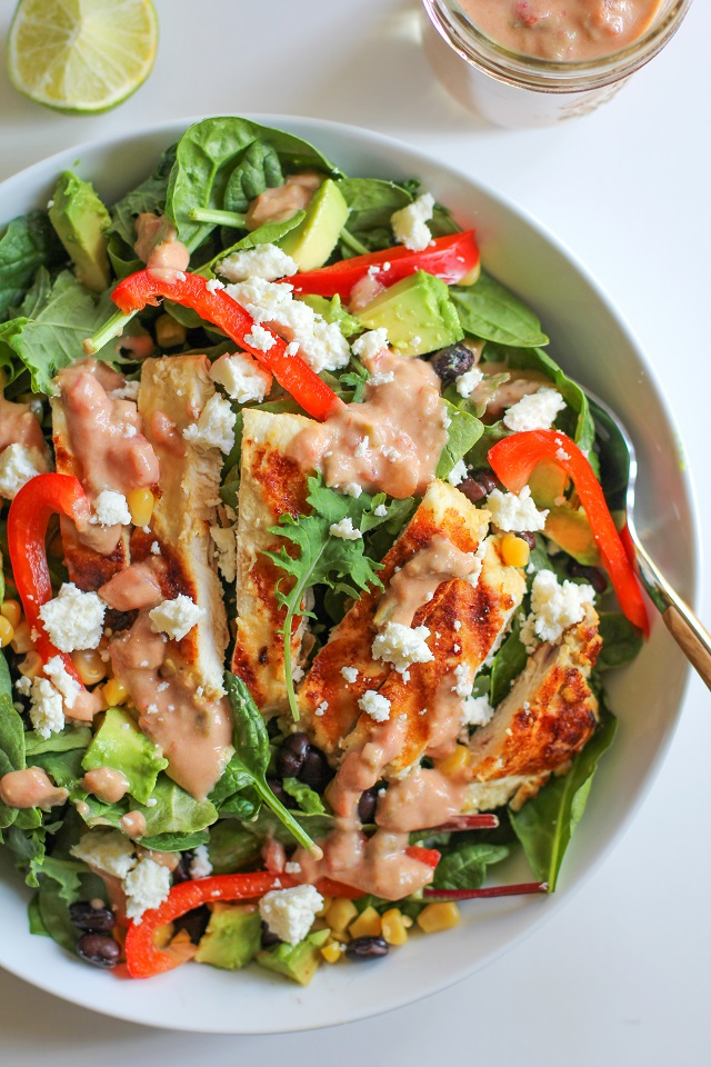 Hummus Marinated Grilled Chicken Salad with Hummus-Salsa Dressing - a filling and healthy Southwest-style entree salad. | theroastedroot.net @sabradippingco