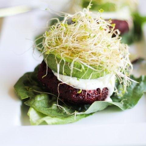 Indian-Spiced Beet Burgers with Lemon-Dill Yogurt Sauce | theroastedroot.net #glutenfree #healthy #vegetarian #recipe #veggieburger