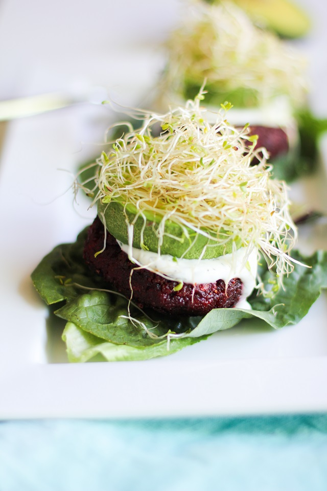 Indian-Spiced Beet Burgers with Lemon-Dill Yogurt Sauce
