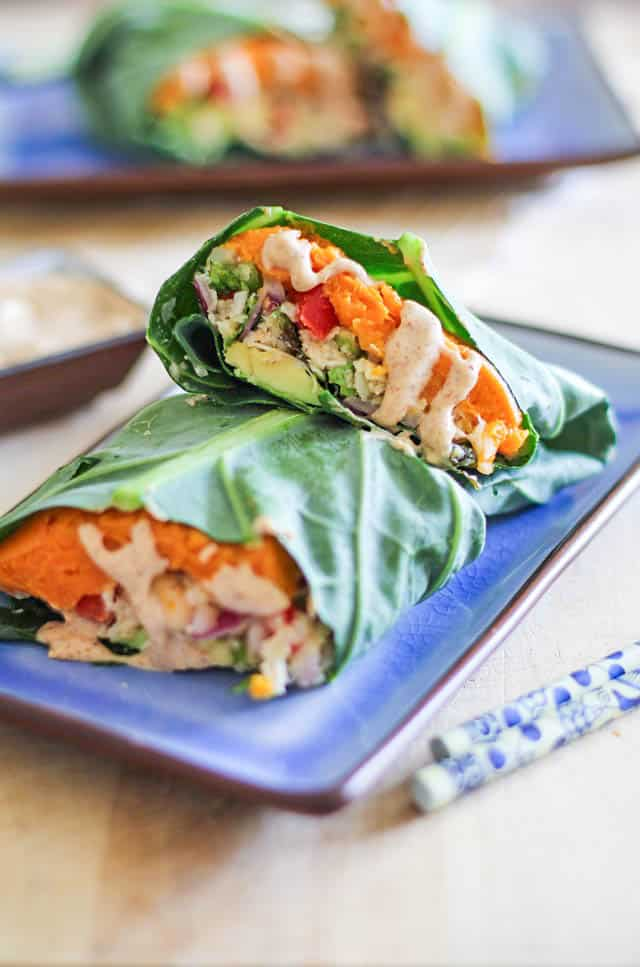 Collard Wraps with roasted sweet potatoes, Thai-style cauliflower rice, avocado, and almond-ginger sauce - a healthy vegan, plant-based meal!