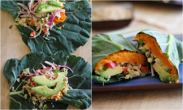 Roasted Sweet Potato and Cauliflower Rice Collard Wraps with Ginger-Almond Butter Sauce | theroastedroot.net #paleo #vegetarian #healthy #recipe