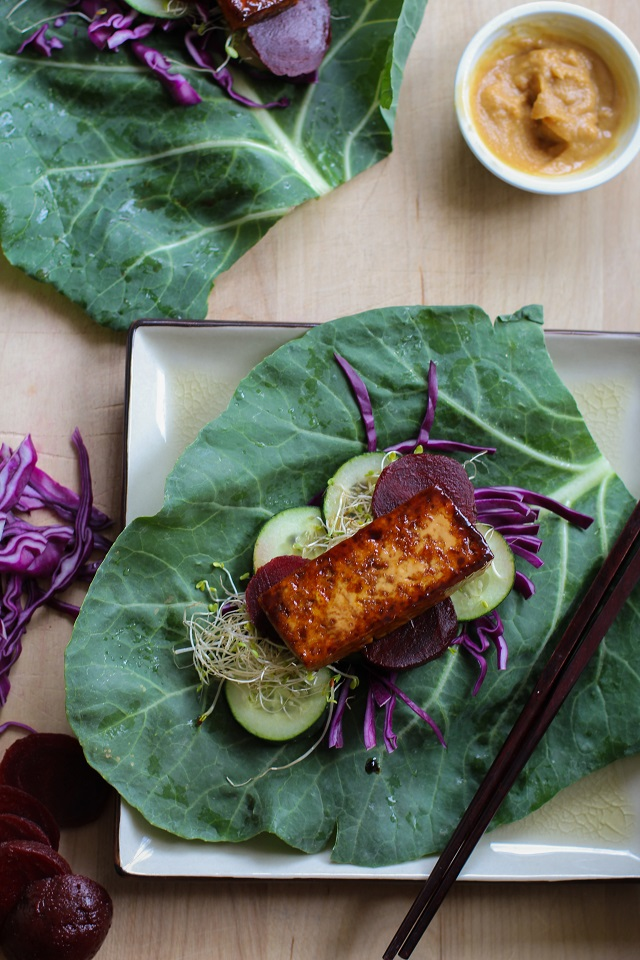 Teriyaki Tofu & Beet Collard Wraps with Miso Dipping Sauce #vegan #vegetarian #recipe