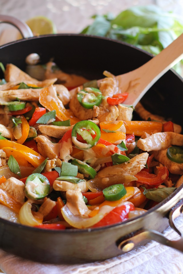 Thai basil chicken stir fry with ginger peanut sauce the roasted thai basil chicken stir fry with ginger peanut sauce theroastedroot recipe forumfinder Image collections