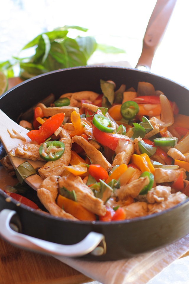 Thai Basil Chicken Stir Fry with Ginger Peanut Sauce   theroastedroot.net #recipe #healthy @roastedroot