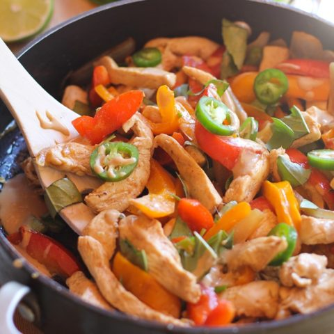 Thai Basil Chicken Stir Fry with Ginger Peanut Sauce | theroastedroot.net #recipe #healthy @roastedroot