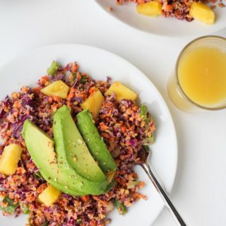 "Tropical Rainbow Vegetable ""Rice"" with Pineapple Coconut Tahini"