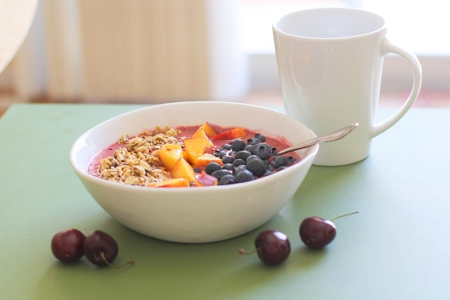 Cherry Coconut Smoothie Bowls with peaches, blueberries, and granola - a healthy vegan and paleo-friendly breakfast | theroastedroot.net #brunch #healthy #recipe