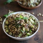 Refreshing tri-color quinoa salad with cucumber, mint, and lime dressing | theroastedroot.net #vegan #healthy #recipe #vegetarian