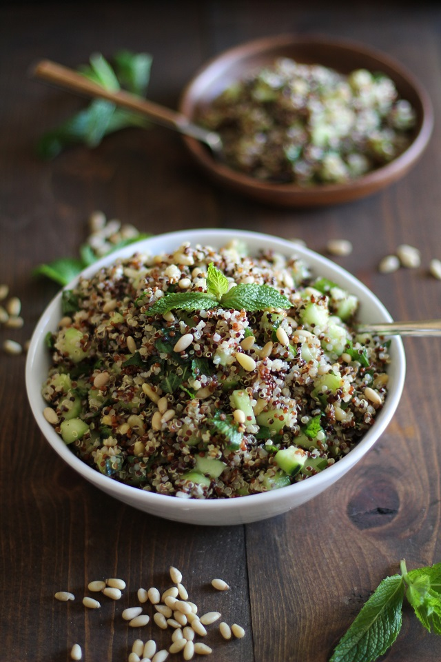 Cooling Tri Color Quinoa Salad With Cucumber Mint And Lime Dressing The Roasted Root