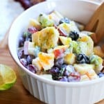 Zesty Fruit Salad with Coconut Milk and Basil | theroastedroot.net #healthy #recipe