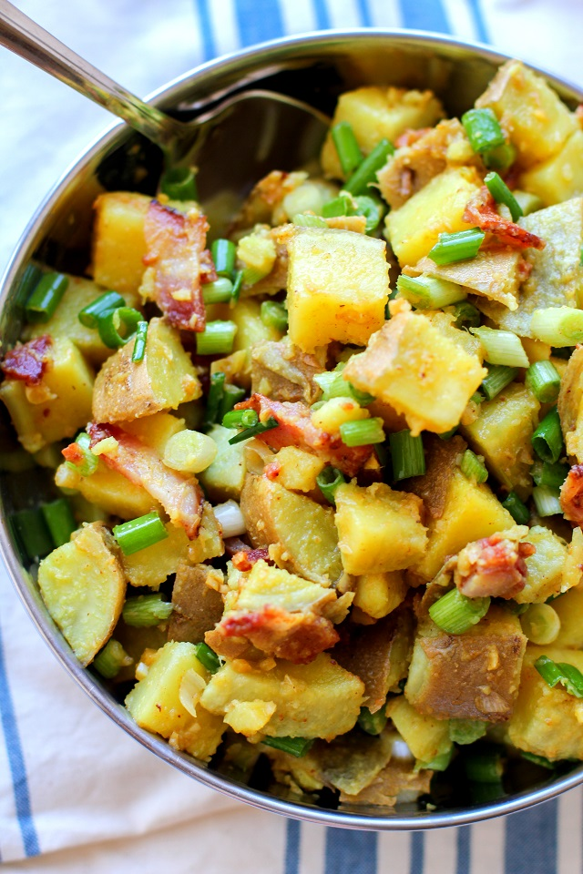 German Potato Salad with sweet potatoes, bacon, and bacon-cider dressing | theroastedroot.net #side_dish #paleo #summer #recipe