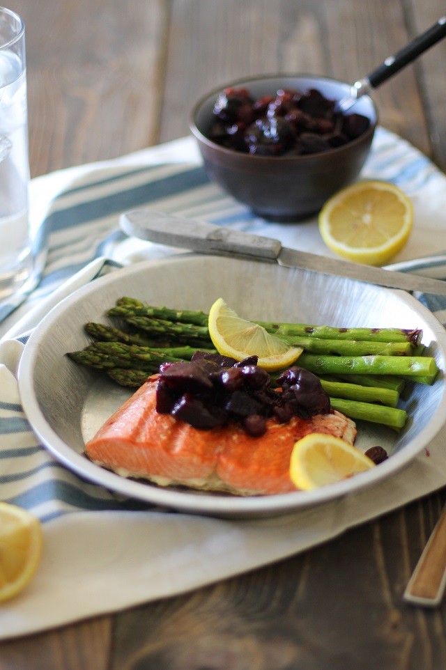 Grilled Salmon with Beet and Cherry Chutney