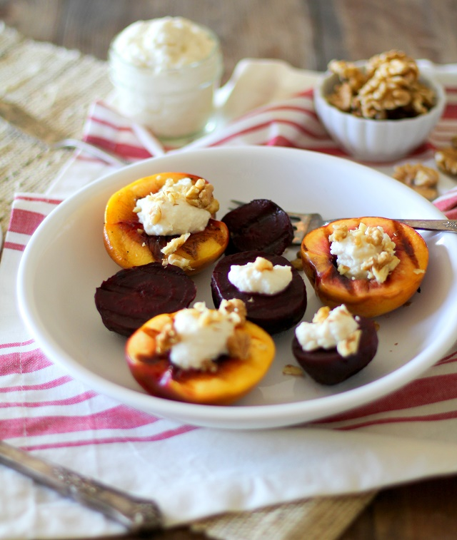 Grilled Peaches and Beets with Honey-Lemon Ricotta