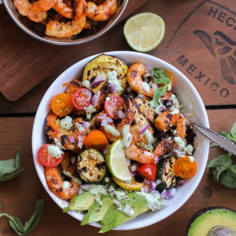 Grilled Red Curry Shrimp Bowls with Grilled Zucchini, Yellow Squash, and Basil Yogurt Sauce | theroastedroot.net #healthy #dinner #recipe