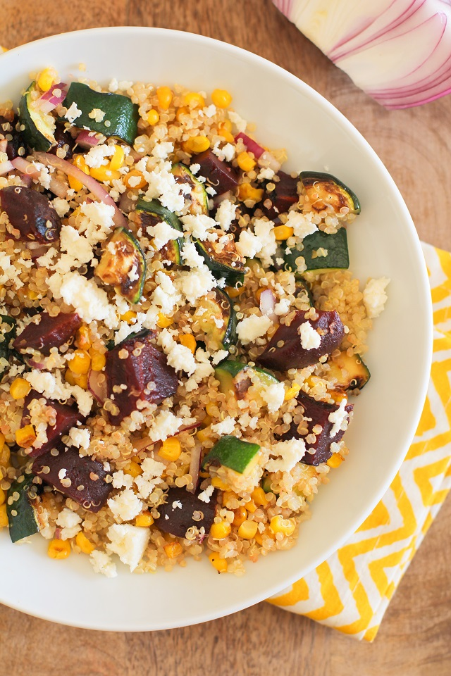 Grilled Zucchini, Corn, and Beet Quinoa Salad with Lime Dressing   theroastedroot.net #vegetarian #recipe #healthy #paleo