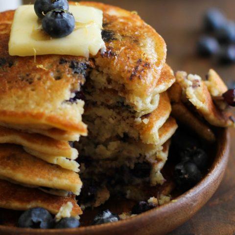Gluten Free Lemon Blueberry Protein Pancakes made with almond flour + a secret ingredient   TheRoastedRoot.net #healthy #breakfast #recipe