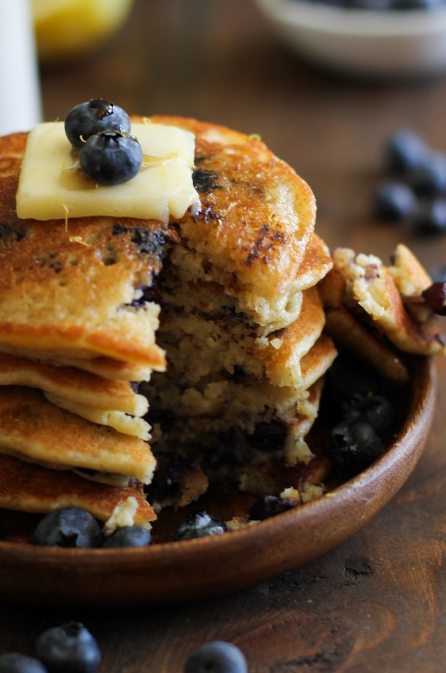 these lemon blueberry pancakes are packed with protein as they re made ...