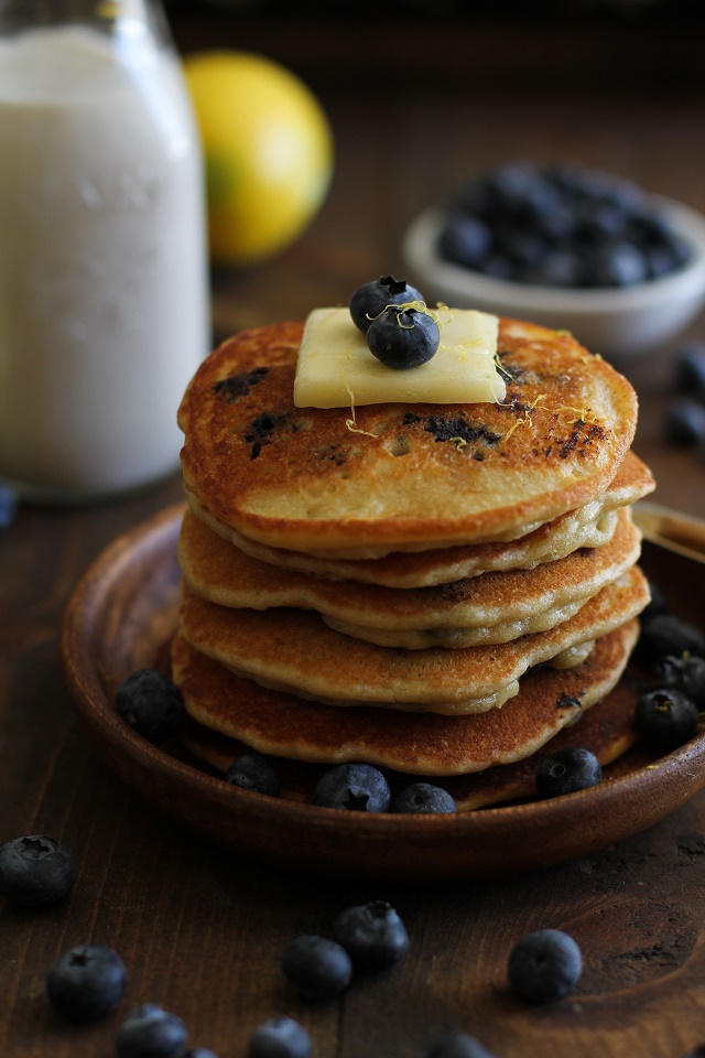 Gluten Free Lemon Blueberry Protein Pancakes made with almond flour + a secret ingredient | TheRoastedRoot.net #healthy #breakfast #recipe