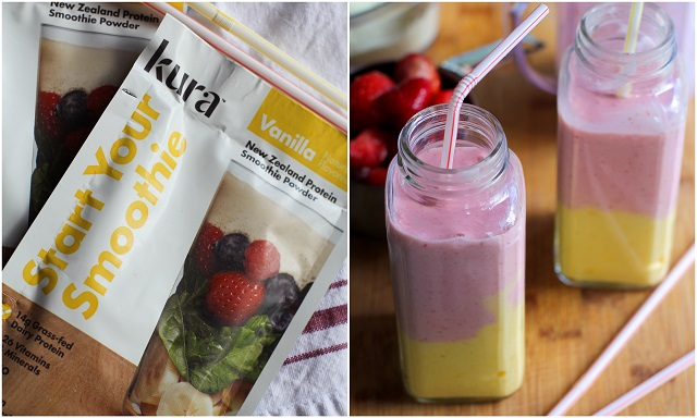 Strawberry Mango Protein Shake | theroastedroot.net #smoothie #healthy #recipe