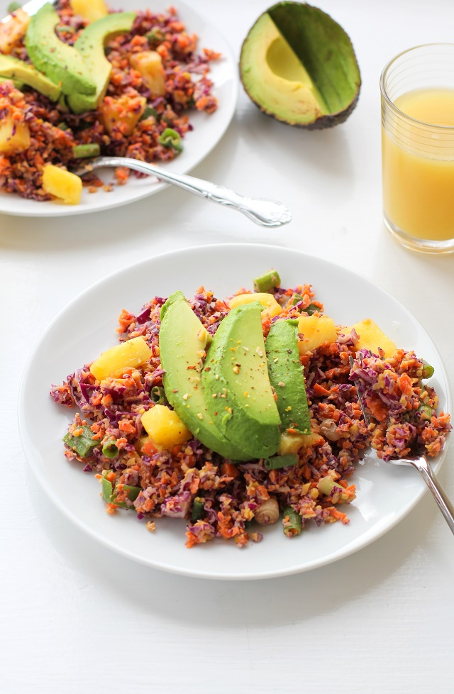 Tropical Rainbow Vegetable Rice with Red Cabbage, Golden Beets, Carrots, and Pineapple Coconut Tahini | theroastedroot.net #vegan #recipe #paleo #healthy