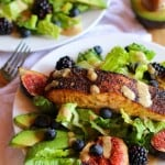 Broiled Salmon and Fig Salad with Blueberries, Blackberries, Avocado, and Green Goddess Dressing   theroastedroot.net #recipe #dinner #healthy