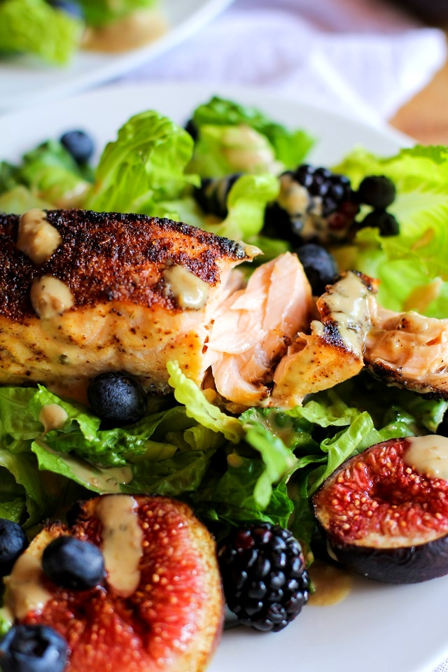Broiled Salmon and Fig Salad with Blueberries, Blackberries, Avocado, and Green Goddess Dressing | theroastedroot.net #recipe #dinner #healthy