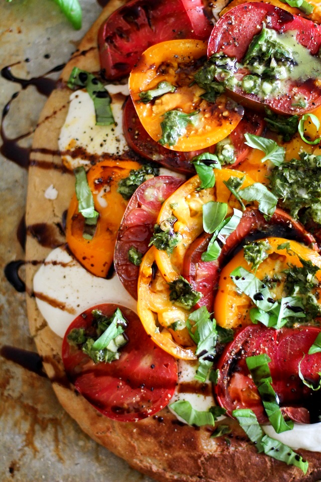 Grain-Free Almond Flour Pizza Crust + a Caprese Pizza Recipe | TheRoastedRoot.net #glutenfree #pizza #dinner #recipe