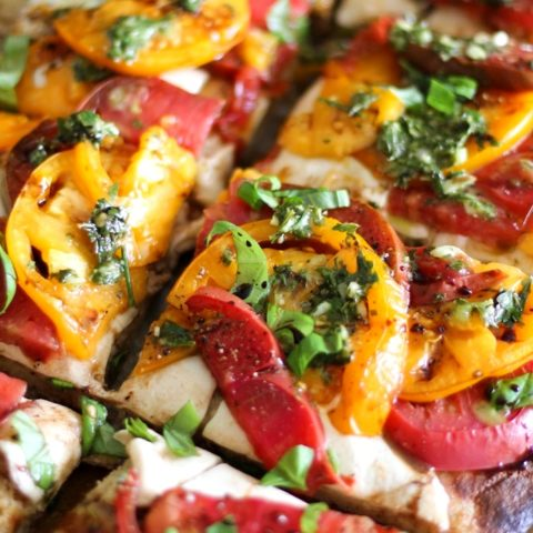 Grain-Free Almond Flour Pizza Crust + a Caprese Pizza Recipe   TheRoastedRoot.net #glutenfree #pizza #dinner #recipe