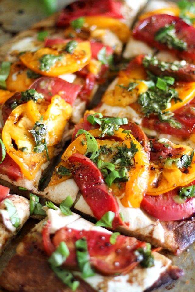 Grain-Free Almond Flour Pizza Crust + a Caprese Pizza Recipe | TheRoastedRoot.net #glutenfree #pizza #dinner #recipe
