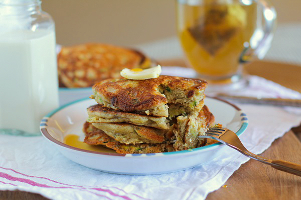 Gluten-Free Zucchini Pancakes | TheRoastedRoot.net #healthy #recipe #breakfast